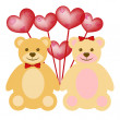 Valentine's Day Teddy Bear Couple with Red Balloons — Stock Photo #4293501