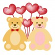 Valentine's Day Teddy Bear Couple with Red Balloons — Stock Photo