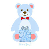 It's a Boy Blue Teddy Bear with Gift — Stock Photo