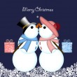 Christmas Kissing Snowman Couple Giving Gifts — Stok fotoğraf