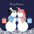 Christmas Kissing Snowman Couple Giving Gifts — Stock Photo