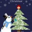 Christmas Snowman Hanging Ornament on Tree with Red Cardinal Bir - Stock Photo