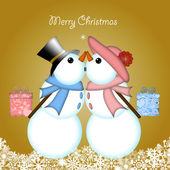 целующаяся пара снеговика, дарить подарки рождества — Стоковое фото
