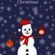 Christmas Snowman Hanging Ornament and Red Cardinal Bird - Stock Photo