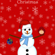 Royalty-Free Stock Photo: Christmas Snowman Hanging Ornament and Red Cardinal Bird