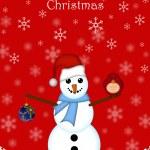 Christmas Snowman Hanging Ornament and Red Cardinal Bird — Stock Photo #4316206