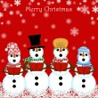 Christmas Snowman Carolers Singing Red - Stock Photo