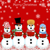 Christmas Snowman Carolers Singing Red — Стоковое фото