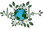 Earth Global Map Go Green Heart Beat — Stock Photo