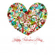 Stock Photo: Happy Valentines Day Heart with Colorful Swirls