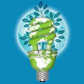 Energiesparende eco-glühbirne mit weltkugel — Stockfoto