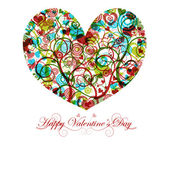 Happy Valentines Day Heart with Colorful Swirls — Stock Photo