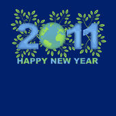 Happy New Year 2011 Green Planet Blue — Stock Photo