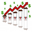 Real Estate Home Values Going Up Graph — Stock Photo