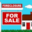 Real Estate Home Foreclosure with For Sale Sign — Stock Photo #4381646