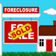 Real Estate Home Foreclosure with Sold Sign — Stock Photo