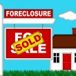 Real Estate Home Foreclosure with Sold Sign — Stock Photo #4381647
