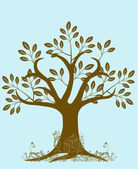 Abstract Tree Silhouette with Leaves and Vines Brown — Stock Photo