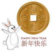 Rabbit Welcoming the Chinese New Year with Gold Coin — Stock Photo