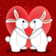 Valentines Day White Bunny Rabbits Kissing — Stock Photo