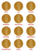 Twelve Chinese Zodiac Gold Coins — Stock Photo