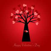 Valentines Day Tree with Red and Pink Hearts Red — 图库照片