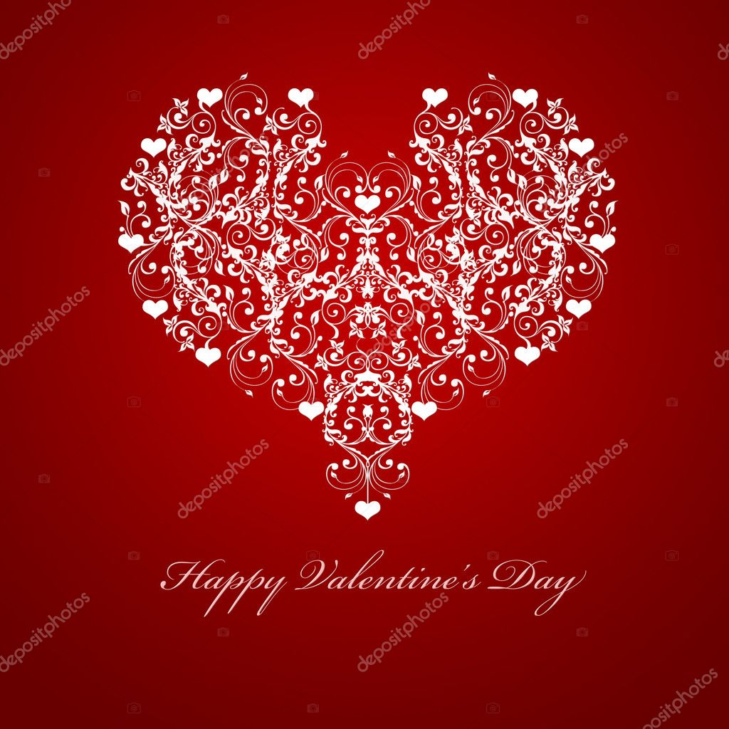 Happy Valentines Day Embossed Leaf Vine Hearts Motif Illustration Red — Stock Photo #4440178