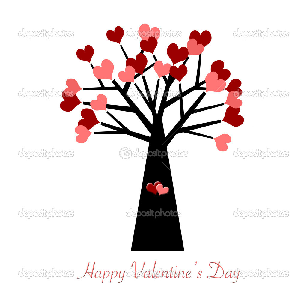 Valentines Day Tree with Red and Pink Hearts Illustration — Stock Photo #4442885