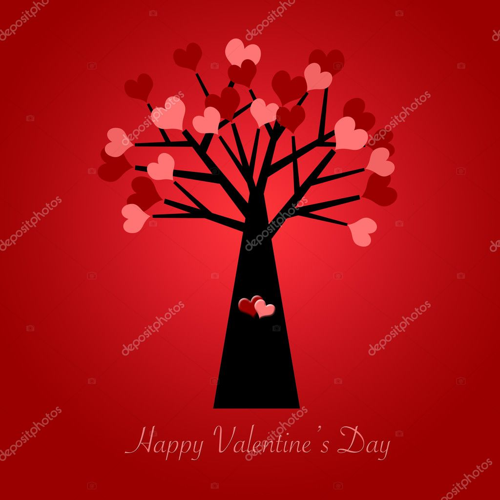 Valentines Day Tree with Red and Pink Hearts Illustration Red Background — Stock Photo #4442886