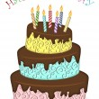 Happy Birthday Three Layer Funny Cake with Candles — Stock Photo