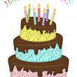 Happy Birthday Three Layer Funny Cake with Candles — ストック写真