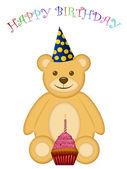 Geburtstag-teddybär mit partyhut und cupcake — Stockfoto