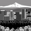 Stock Photo: Portland Downtown Skyline with Mount Hood and River