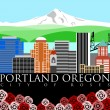 Portland Downtown Skyline with Mount Hood and River Colors — Stock Photo
