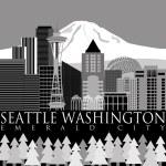 Seattle Downtown Skyline with Mount Rainier — Stock Photo