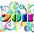 Happy New Year 2011 with Colorful Swirls and Circles — Stock Photo