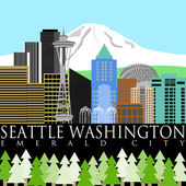 Seattle Downtown Skyline with Mount Rainier Color — Stock Photo
