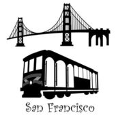San Francisco Golden Gate Bridge and Cable Car Trolley — Stock Photo