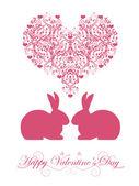 Happy Valentines Day Honeysuckle Pink Bunny Rabbit — Stock Photo