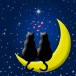 Happy Valentines Day Cats in Love Sitting on Moon — ストック写真