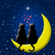 Stock Photo: Happy Valentines Day Cats in Love Sitting on Moon