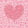 Happy Valentines Day Heart with Pink Roses — ストック写真