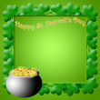 Happy St Patricks Day Pot of Gold Shamrock Leaves — Stock Photo
