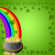 Happy St Patricks Day Pot of Gold End of Rainbow — Stock Photo