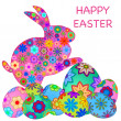 Happy Easter Bunny Rabbit with Colorful Eggs — Stock Photo #4649110