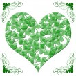Happy St Patricks Day Heart of Shamrock Leaves — Stock Photo #4654518