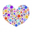 Happy Valentines Day Heart with Colorful Flowers — Stock Photo