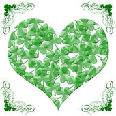 Happy St Patricks Day Heart of Shamrock Leaves — 图库照片
