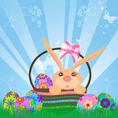Пасхальные яйца зайчика в корзине — Стоковое фото