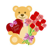 Teddy Bear with Rose Bouquet and Heart Box — Stock Photo